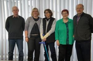 Das Online-Team 2015 (v.r.)Hartmut Fritz,Andrea Floß,Inge Hoek,Christa Commer und Hans -Jürgen Knabben